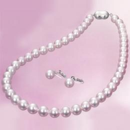 【1402-002】オーロラ天女8.5~9mm和珠本真珠ネックレス&イヤリングorピアス