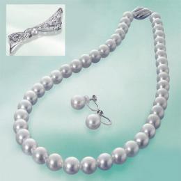 【1402-004】ナチュラルブルー「オーロラ真多麻」9~9.5mm高級本真珠ネックレス&イヤリング ブローチ付き
