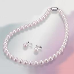 【1402-008】オーロラ花珠「越もの」8~8.5mm和珠本真珠ネックレス&イヤリングorピアス