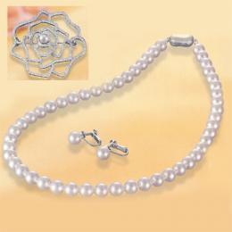 【1402-012】オーロラ花珠7~7.5mm和珠本真珠ネックレス&イヤリング ブローチ付き