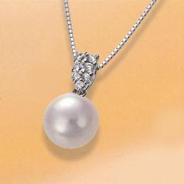 【1402-016】プラチナ オーロラ天女9~9.5mm和珠本真珠ペンダントネックレス(パヴェ)
