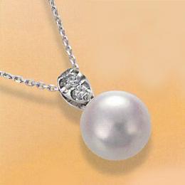【1402-017】プラチナ オーロラ天女9~9.5mm和珠本真珠ペンダントネックレス