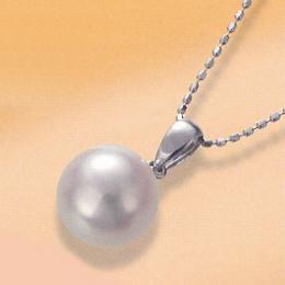 【1402-018】プラチナ オーロラ天女9~9.5mm和珠本真珠ペンダントネックレス(地金)