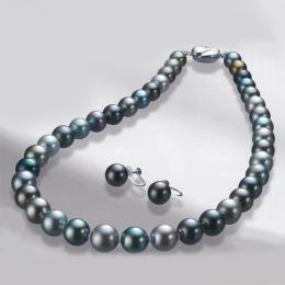 【1402-022】スーパープレミアムマルチカラー11~9mm南洋黒蝶真珠ネックレス&イヤリングorピアス