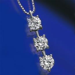 【1402-029】プラチナIFクラス・Fカラー・トリプルエクセレント(H&C)合計1ct天然ダイヤモンドスリーストーンペンダントネックレス