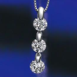 【1402-030】プラチナIFクラス・Fカラー・トリプルエクセレント(H&C)合計1ct天然ダイヤモンドスリーストーンペンダントネックレス ワンサイド留め