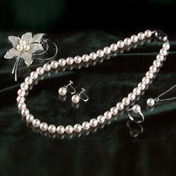 【送料無料】オーロラ花珠8~8.5mm和珠高級本真珠5点セット(ネックレス・イヤリング・ペンダント・リング・ブローチ)