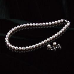 【送料無料】オーロラ花珠8.5~9mm和珠高級本真珠ネックレス&イヤリング