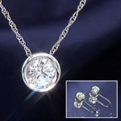 【送料無料】0.5ct以上天然ダイヤモンドペンダントネックレス&0.15ct天然ダイヤモンドイヤリングorピアス